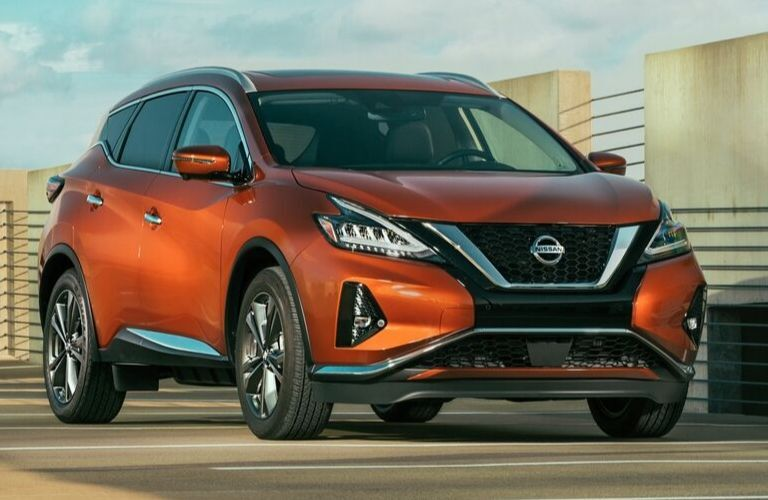 Exterior view of the front of an orange 2020 Nissan Murano