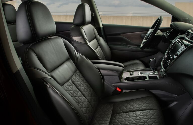 Interior view of the front seating area inside a 2020 Nissan Murano