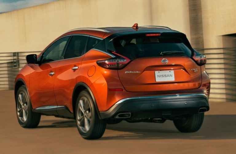Exterior view of the rear of an orange 2020 Nissan Murano