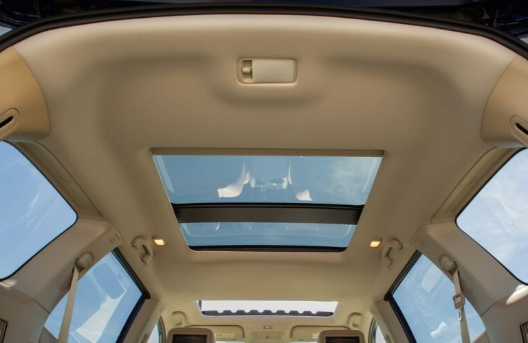 Interior view of the dual moonroofs inside the 2020 Nissan Pathfinder