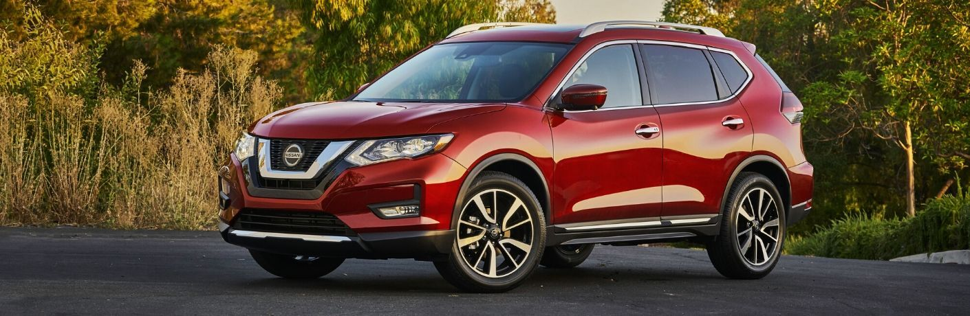 Exterior view of a red 2020 Nissan Rogue