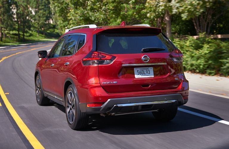 Exterior view of the rear of a red 2020 Nissan Rogue