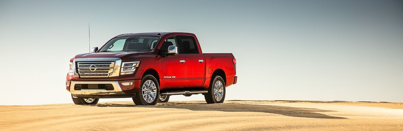 Exterior view of a red 2020 Nissan TITAN
