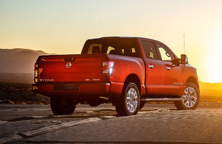Exterior view of the rear of a red 2020 Nissan TITAN