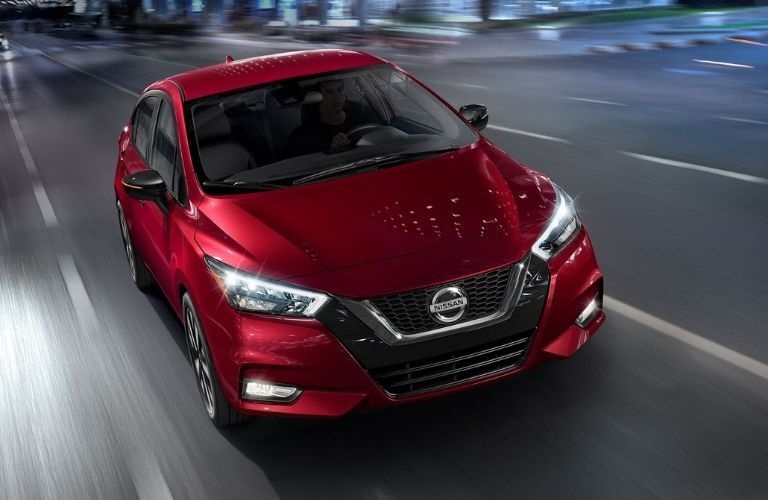 Exterior view of the front of a red 2020 Nissan Versa