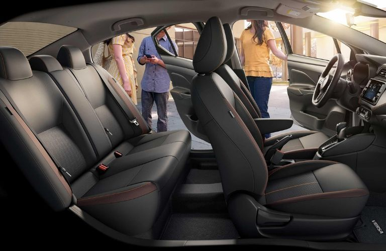 Interior view of the two rows of seating inside a 2020 Nissan Versa
