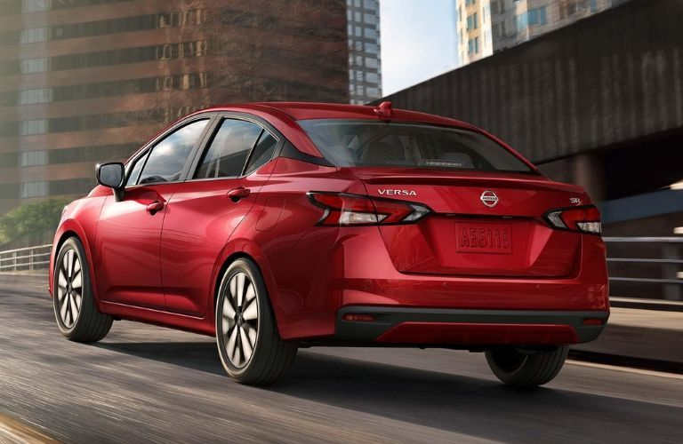 Exterior view of the rear of a red 2020 Nissan Versa