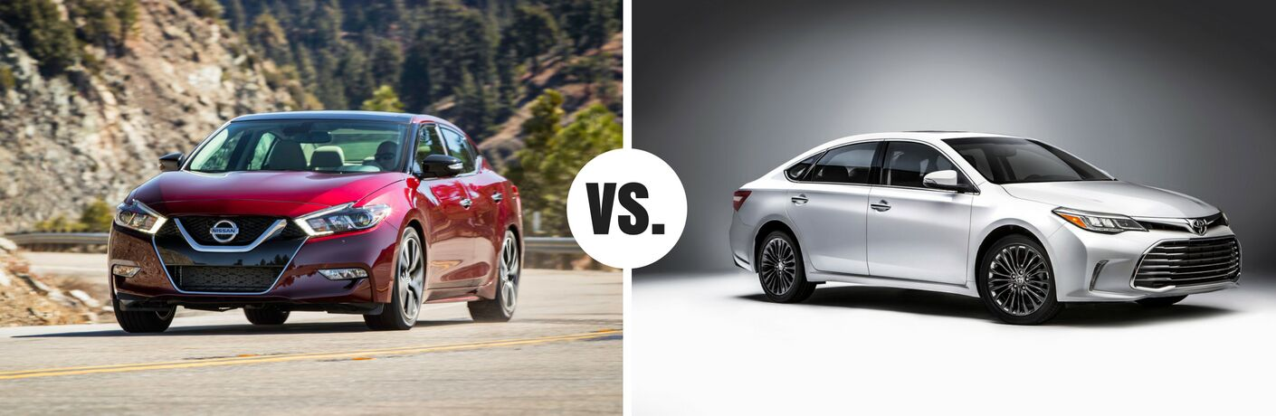 red nissan maxima compared to white toyota avalon