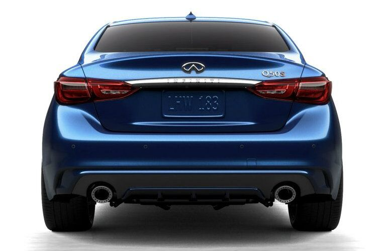 Exterior view of the rear of a blue 2019 INFINITI Q50 placed against a blank white background