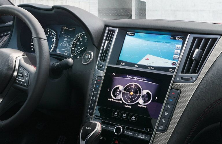 Interior view of the Dual Display navigation system inside a 2019 INFINITI Q50
