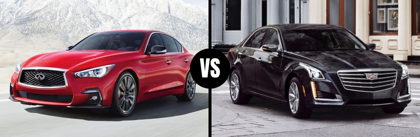 Comparison image of a red 2019 INFINITI Q50 and a black 2019 Cadillac CTS