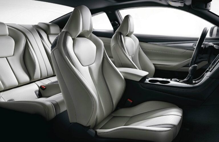 Interior view of the beige seating inside a 2019 INFINITI Q60