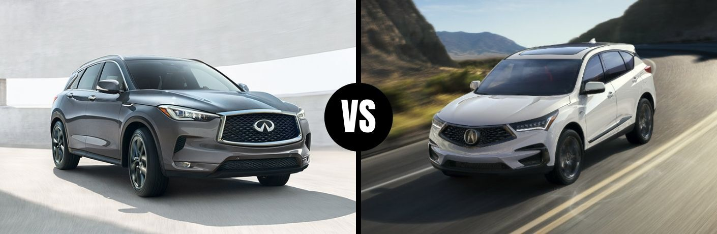 Comparison image of a gray 2019 INFINITI QX50 and a white 2019 Acura RDX