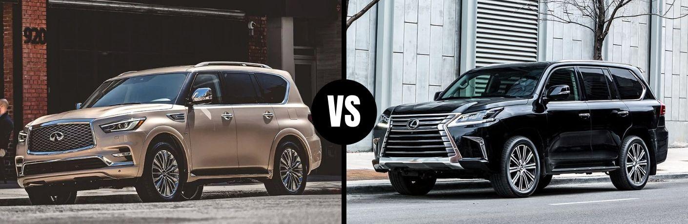 Comparison image of a beige 2019 INFINITI QX80 and a black Lexus LX 570