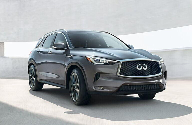 Exterior view of a gray 2019 INFINITI QX50