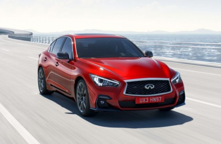 Exterior view of the front of a red 2020 INFINITI Q50