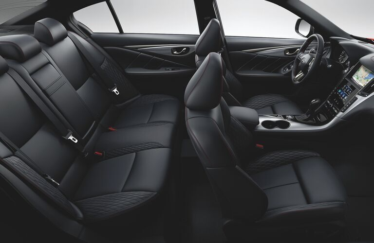 Interior view of the two rows of seating inside a 2020 INFINITI Q50