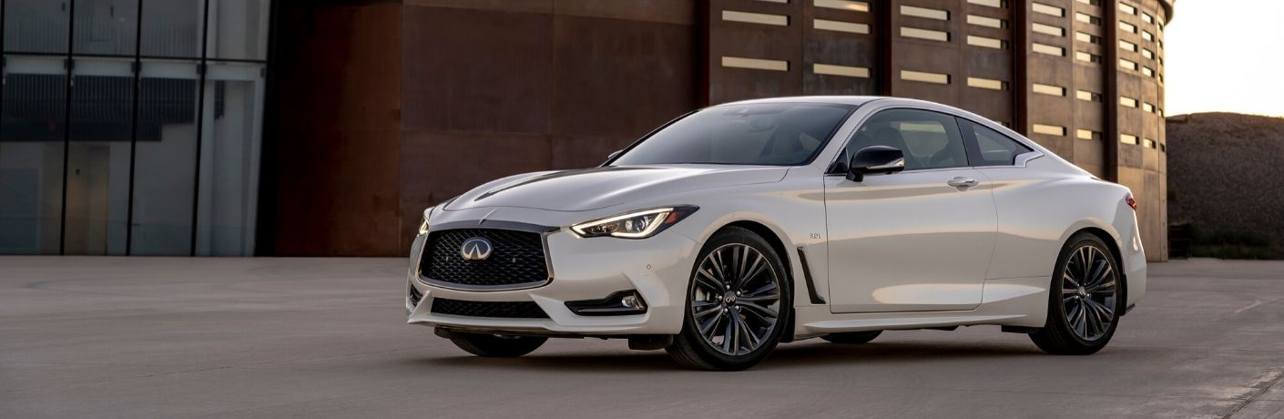 Exterior view of a white 2020 INFINITI Q60
