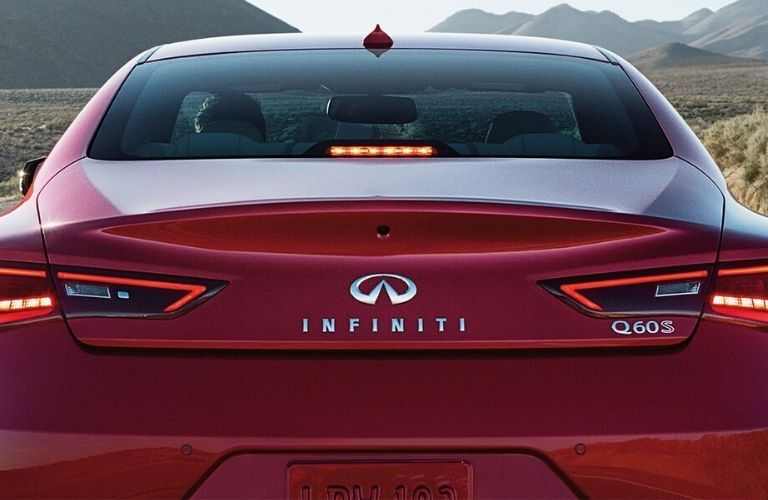 "Closeup exterior view of the rear and ""Q60"" badge on the 2020 INFINITI Q60"