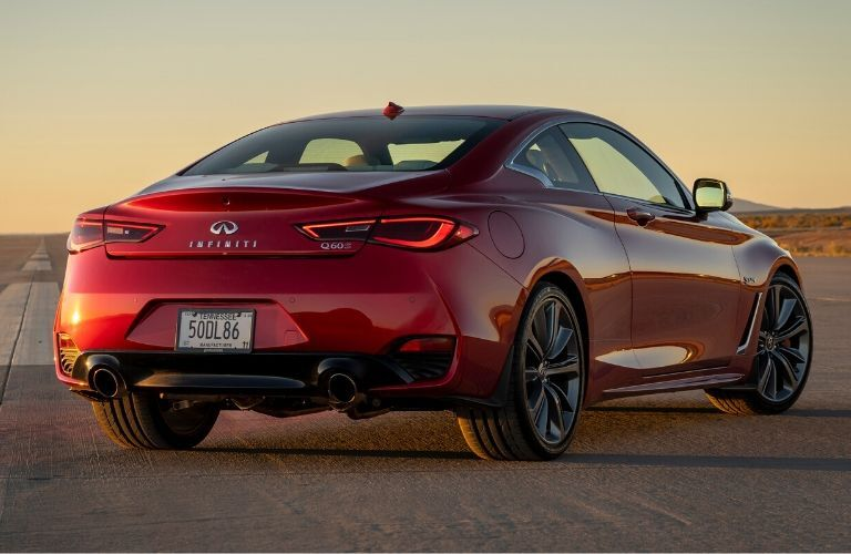 Exterior view of the front of a red 2020 INFINITI Q60