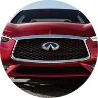 Image of the front grille of a red 2020 INFINITI Q60