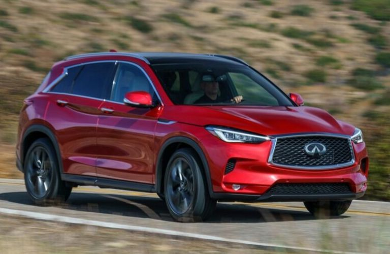 Exterior view of a red 2020 INFINITI QX50