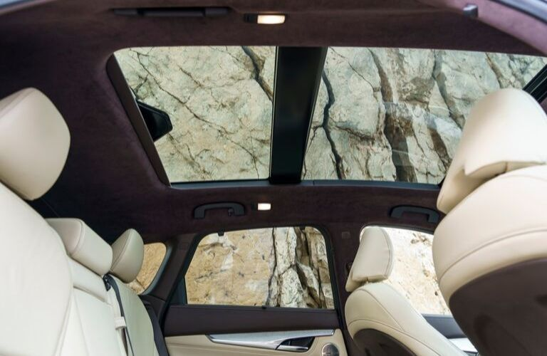 Interior view of the dual moonroofs inside the 2020 INFINITI QX50