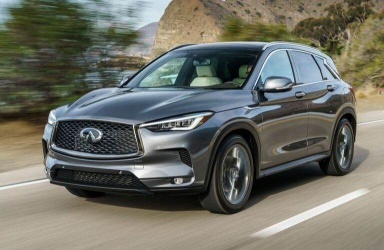 Exterior view of the front of a gray 2020 INFINITI QX50