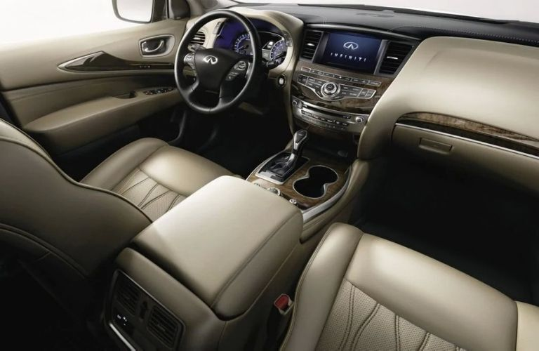 Interior view of the front seating area inside a 2020 INFINITI QX60