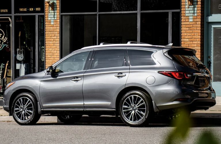Exterior view of the passenger's side on a gray 2020 INFINITI QX60