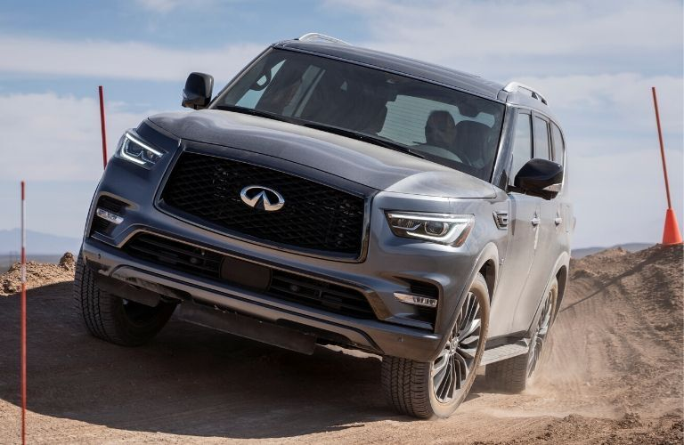Exterior view of the front of a gray 2020 INFINITI QX80