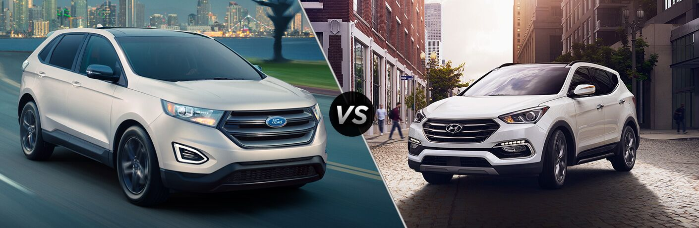 2018 Ford Edge driving near a body of water and a park vs 2018 Hyundai Santa Fe parked in the middle of a city