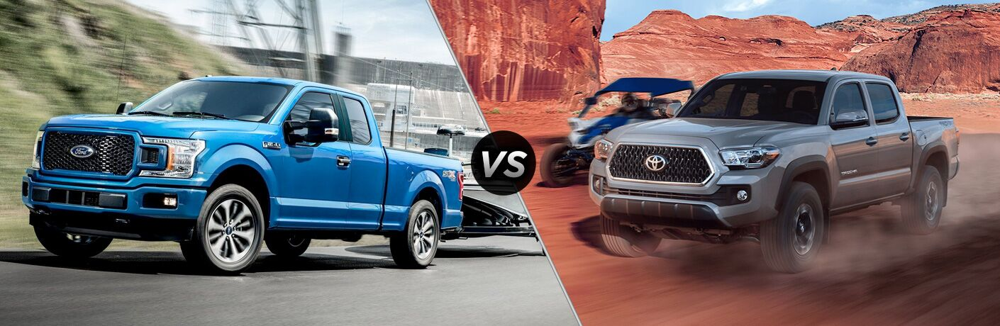 2019 Ford F-150 exterior front fascia and drivers side vs 2019 Toyota Tacoma exterior front fascia and drivers side