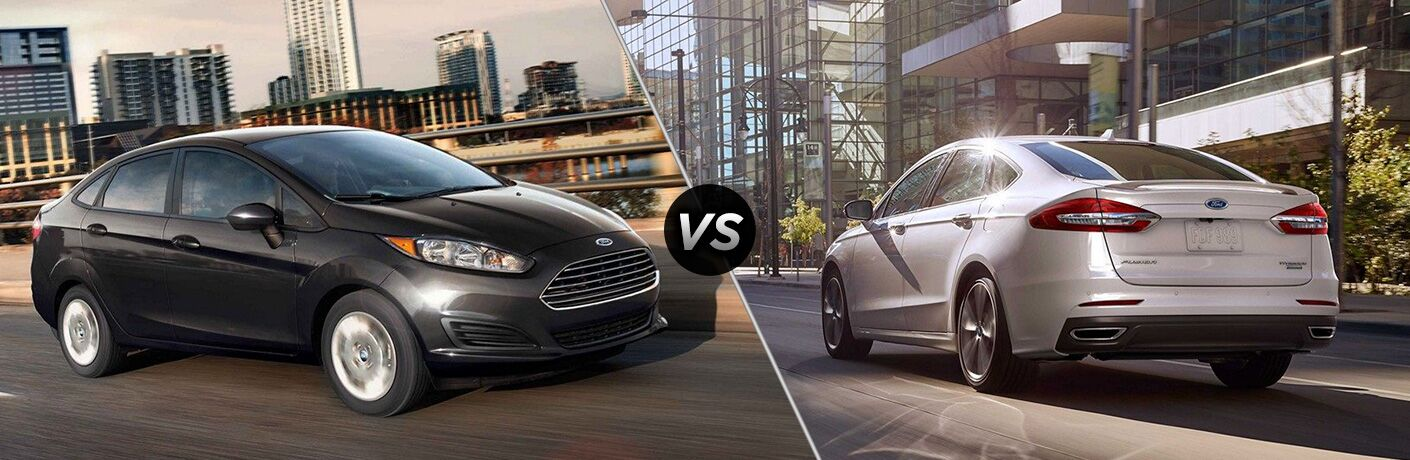 2019 Ford Fiesta sedan exterior front fascia and passenger side vs 2019 Ford Fusion exterior back fascia and drivers side