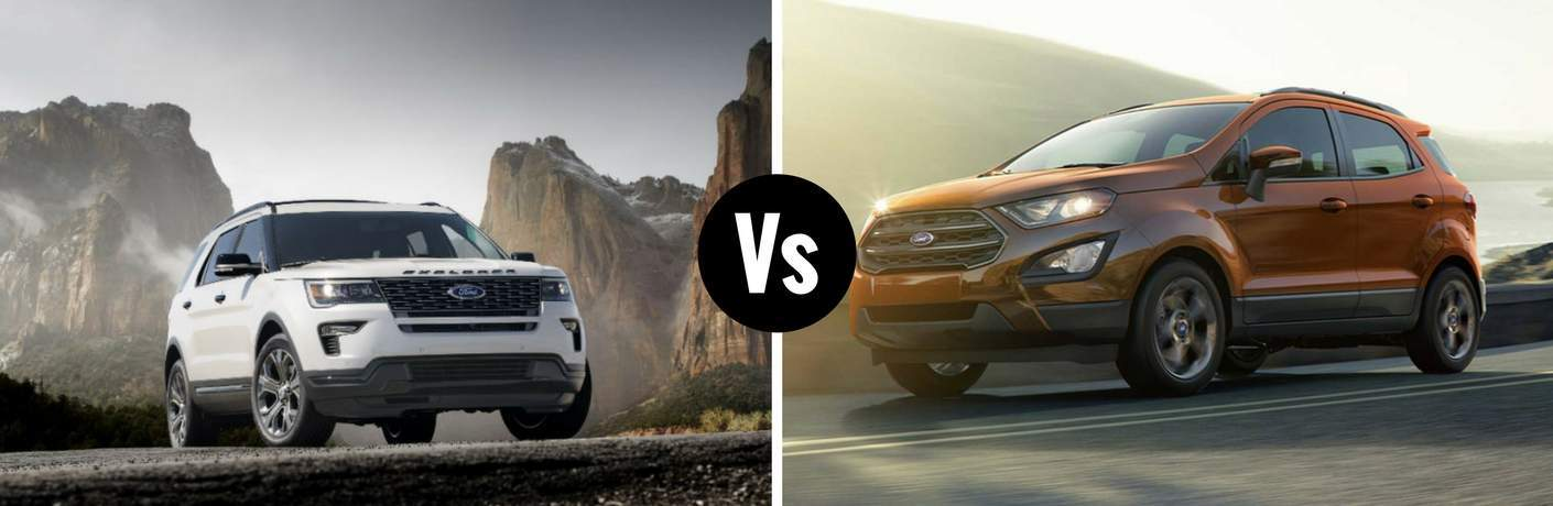 "2018 Ford Explorer and 2018 Ford EcoSport with ""Vs"" between."
