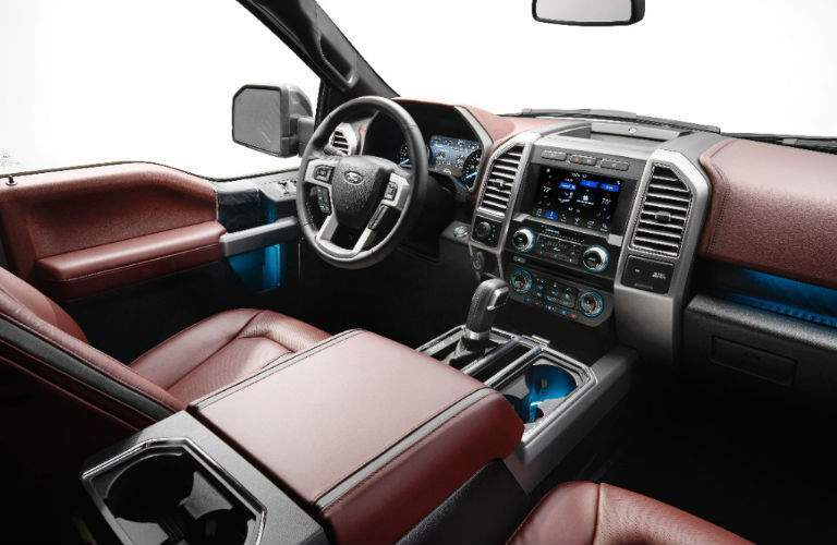 2018 Ford F-150 red leather interior overview