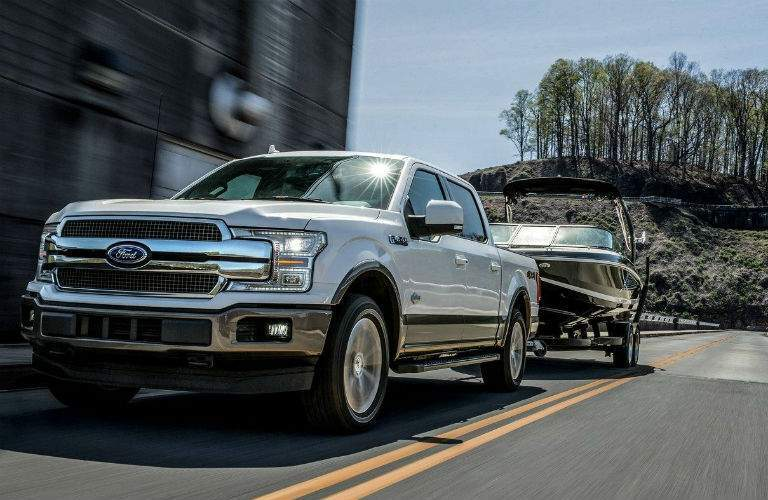 2018 ford f-150 king ranch with platinum white color towing boat norwood ma_o