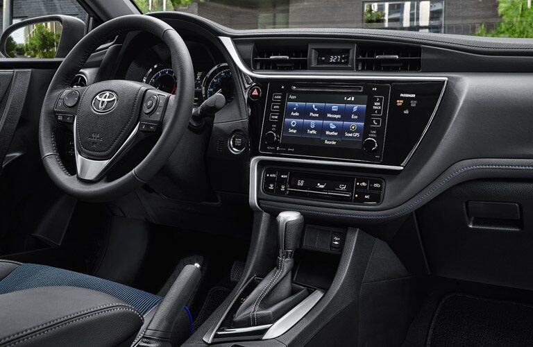 steering wheel and dashboard of the 2017 Toyota Corolla