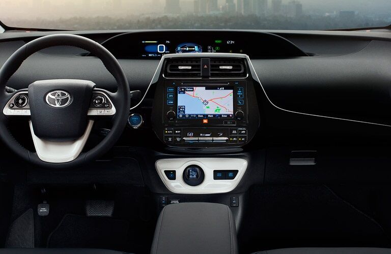 Steering wheel and infotainment system in the 2017 Toyota Prius