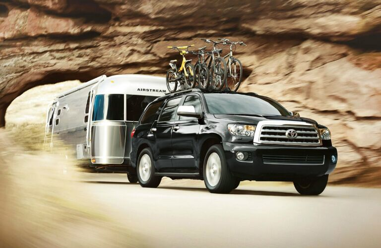 2017 Toyota Sequoia hauling trailer and bikes