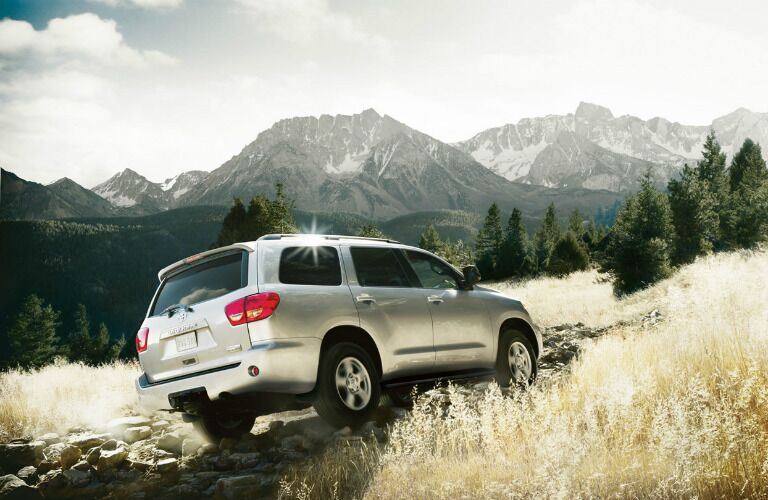 2017 Toyota Sequoia driving off-road by mountains