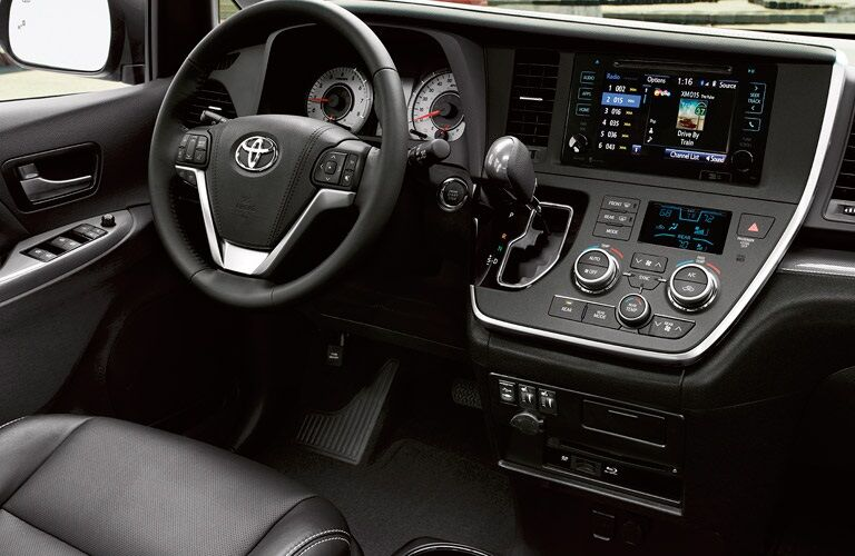 Steering wheel and dashboard of the 2017 Toyota Sienna