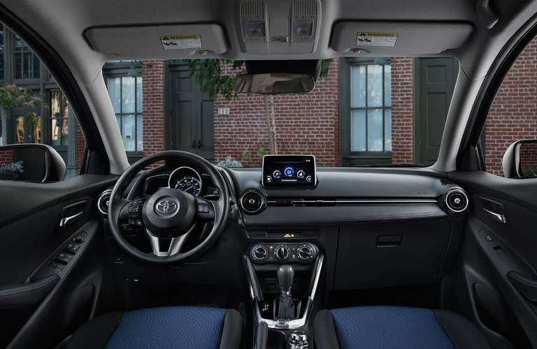 Steering wheel and infotainment system in the 2017 Toyota Yaris iA