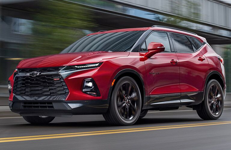 Driver's side front angle view of red 2020 Chevrolet Blazer