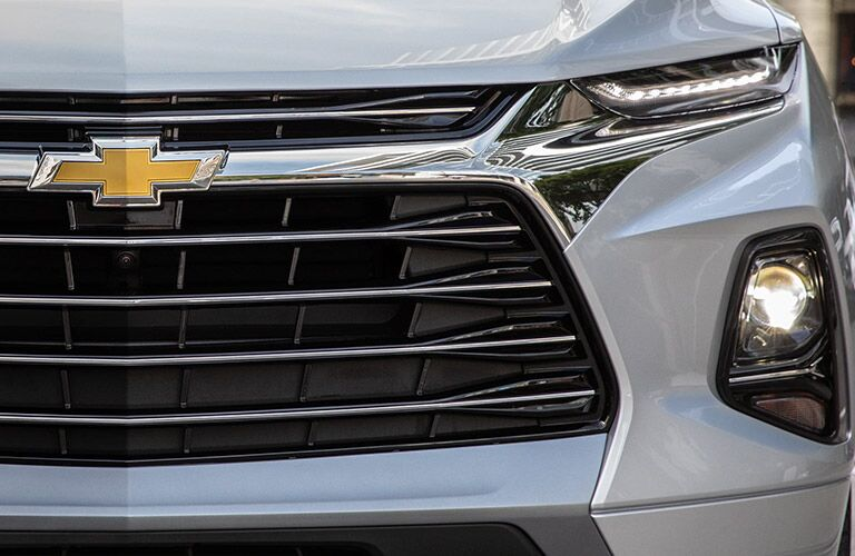 Grille, badge, and front lights on silver 2020 Chevrolet Blazer