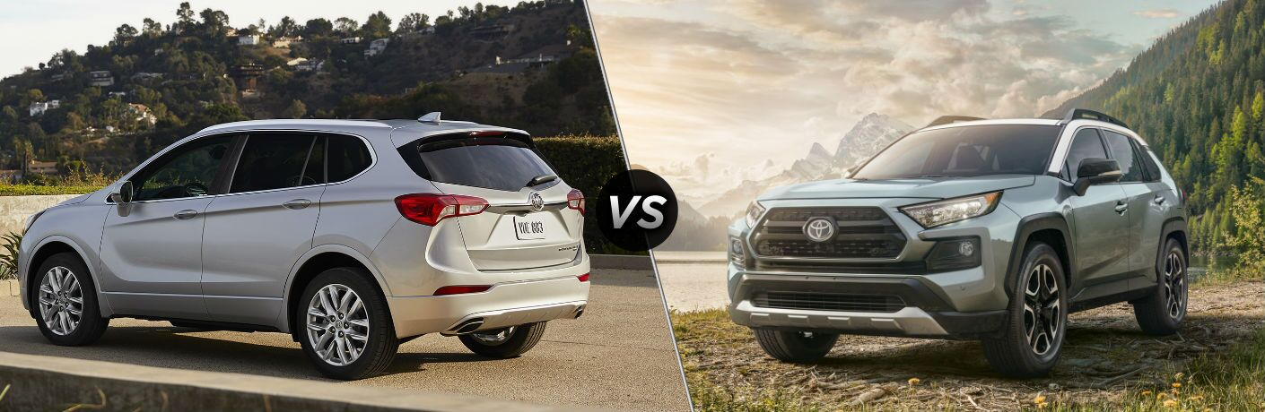 "Rear driver side exterior view of a gray 2019 Buick Envision on the left ""vs"" front driver side exterior view of a gray 2019 Toyota Rav4"