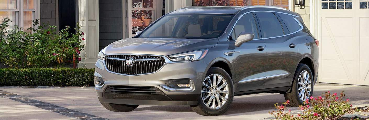 front exterior view of a gray 2018 Buick Enclave