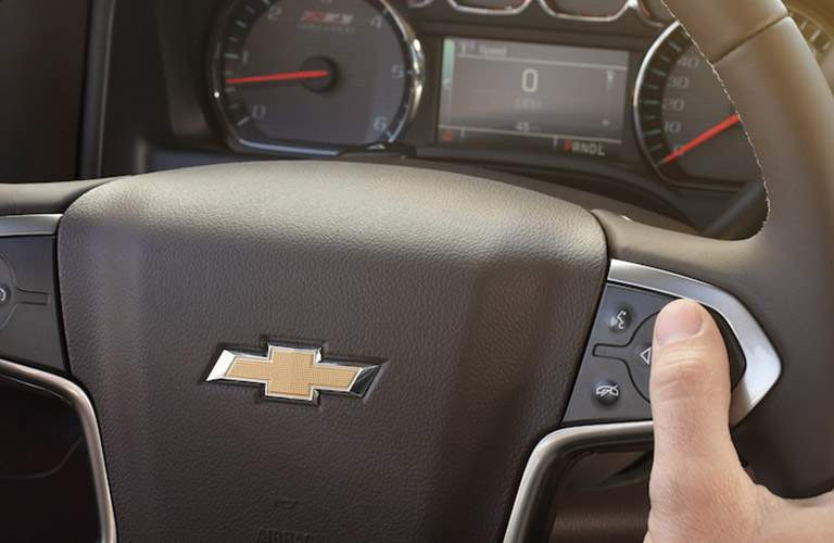 Steering wheel controls and driver information center of the 2018 Chevy Silverado 2500 HD