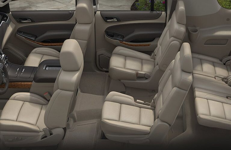 Side view of the three rows of seats in the 2018 Chevy Suburban