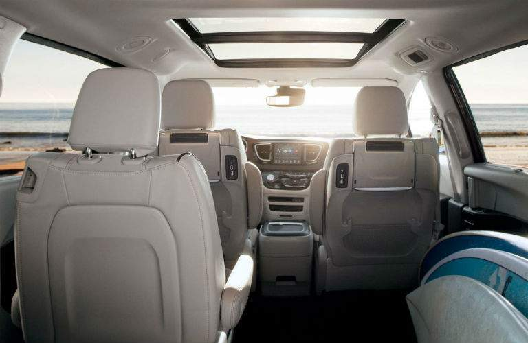passenger side second-row seat folded for cargo in the 2018 Chrysler Pacifica